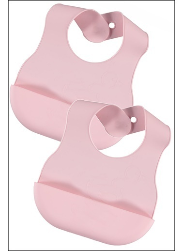 Kitchen Love 2 Adet Silikon-Renkli-Bebe Mama Önlüğü-25X20Cm Pembe